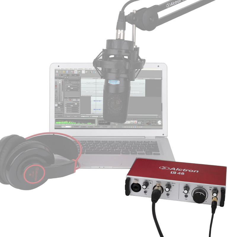 Microphone connected to audio interface and laptop