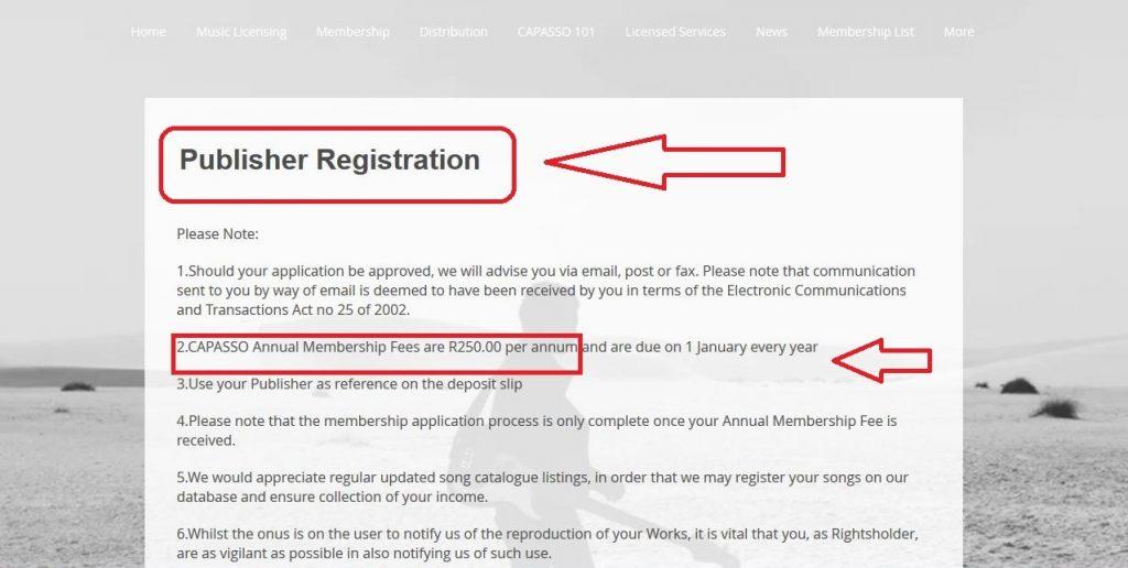 Capasso music publisher registration