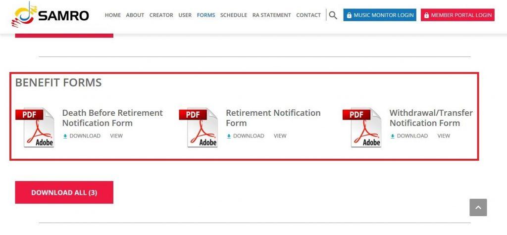 benefit forms screenshot