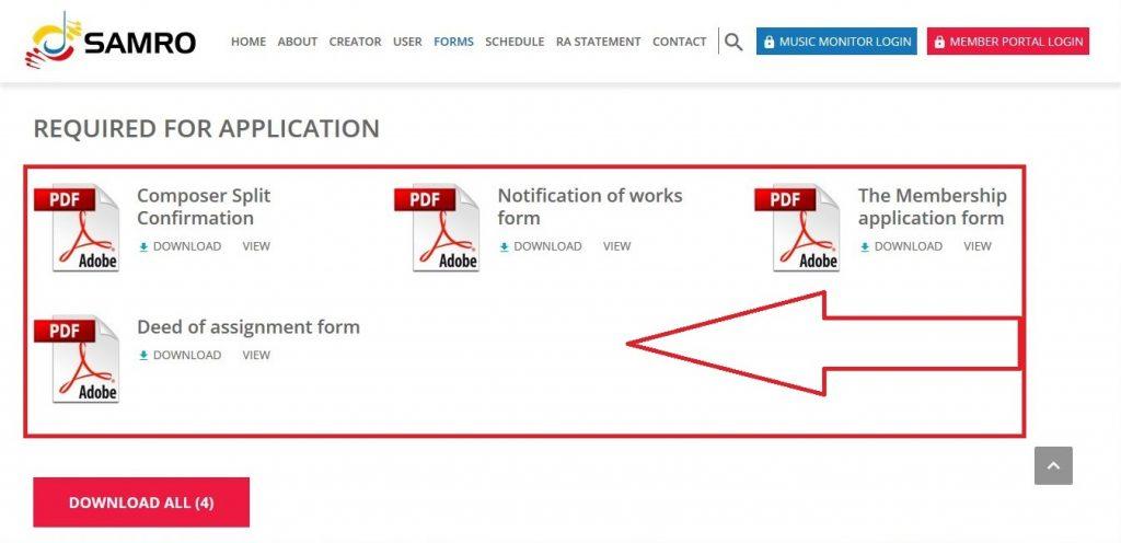 samro membership application screenshot