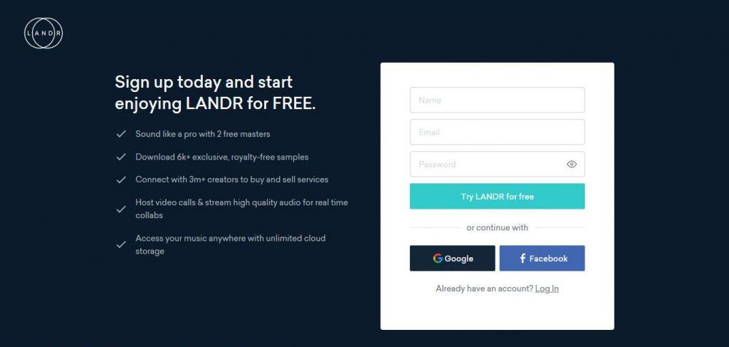 Landr Sign Up Page